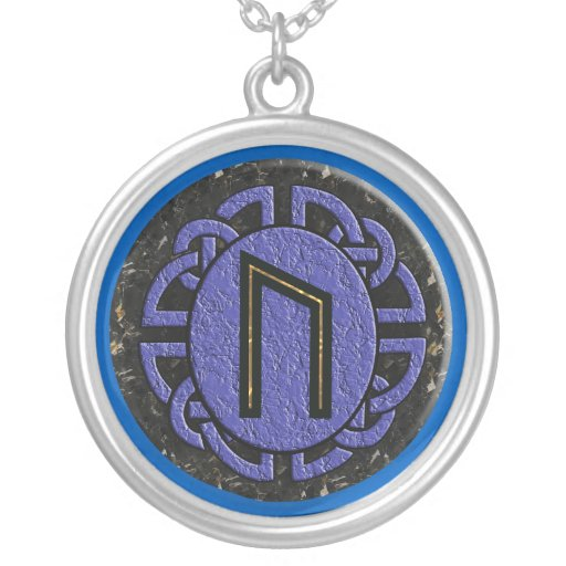 """uruz"" elder futhark round pendant necklace"