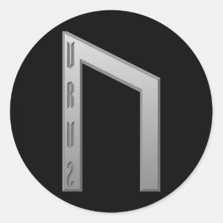 Uruz Rune grey Classic Round Sticker