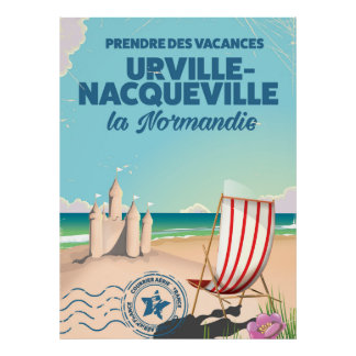 Urville-Nacqueville Normandy beach travel poster