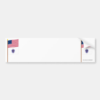 US 13-star flag on pole with Massachusetts Bumper Sticker