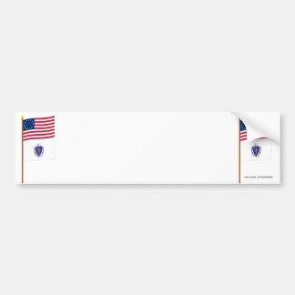 US 13-star flag on pole with Massachusetts Bumper Sticker