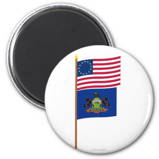 US 13-star flag on pole with Pennsylvania Refrigerator Magnet