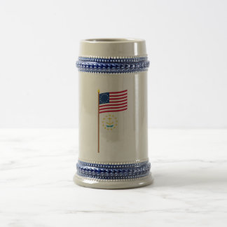 US 13-star flag on pole with Rhode Island Beer Stein