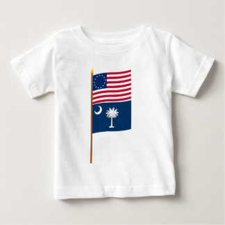 US 13-star flag on pole with South Carolina T Shirt