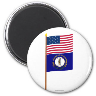 US 15-star flag on pole with Kentucky 2 Inch Round Magnet