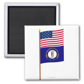 US 15-star flag on pole with Kentucky 2 Inch Square Magnet