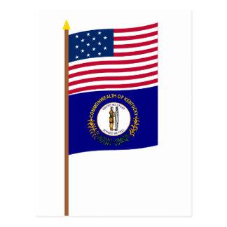 US 15-star flag on pole with Kentucky Postcard