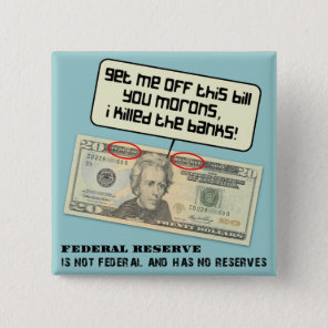 US 20 dollar bill Federal Reserve Button