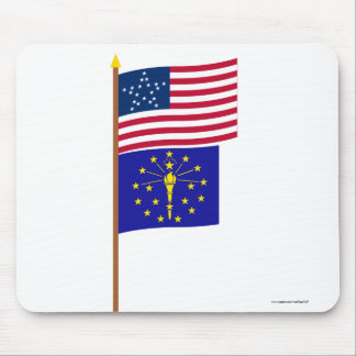 US 20-star Great Star flag on pole with Indiana Mouse Pad