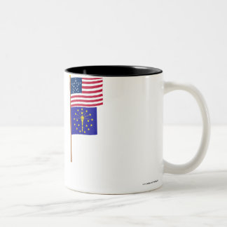US 20-star Great Star flag on pole with Indiana Two-Tone Coffee Mug