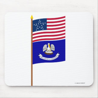 US 20-star Great Star flag on pole with Louisiana Mouse Pad