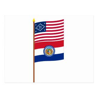 US 24-star Diamond flag on pole with Missouri Postcard