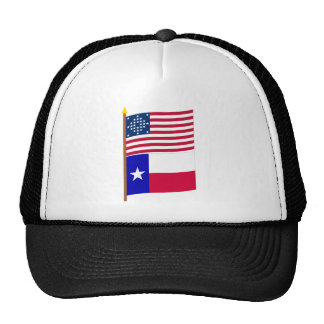 US 28-star Diamond pattern flag on pole with Texas Trucker Hat