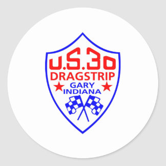 us 30 dragstrip classic round sticker