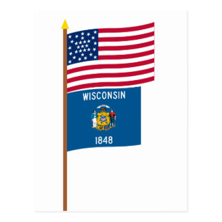 US 30-star flag on pole with Wisconsin Postcard