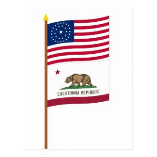 US 31-star flag on pole with California Postcards