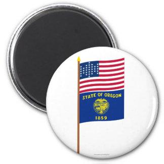 US 33-star Ft Sumter garrison flag on pole, Oregon 2 Inch Round Magnet