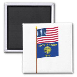 US 33-star Ft Sumter garrison flag on pole, Oregon 2 Inch Square Magnet