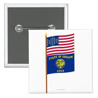 US 33-star Ft Sumter garrison flag on pole, Oregon Pinback Button