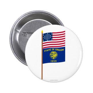 US 33-star Ft Sumter storm flag on pole w Oregon Pinback Button
