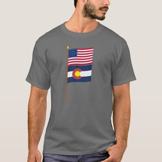 US 38-star flag on pole with Colorado T-Shirt
