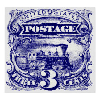 US 3 cent Locomotive Postage Stamp of 1869 Posters