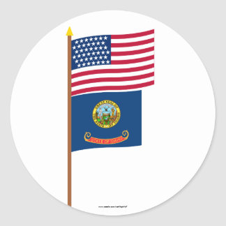 US 43-star flag on pole with Idaho Round Stickers