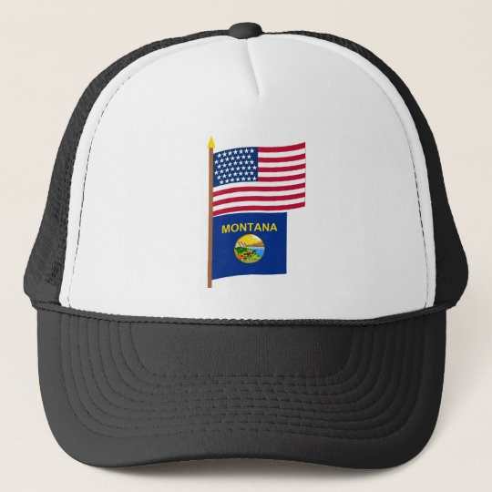 US 43-star flag on pole with Montana Trucker Hat