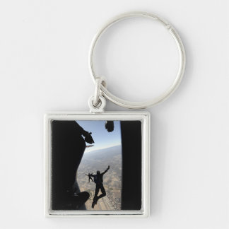 US Air Force Academy Parachute Team Silver-Colored Square Keychain