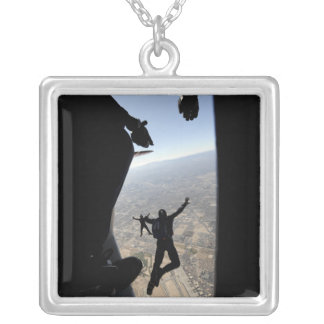 US Air Force Academy Parachute Team Silver Plated Necklace