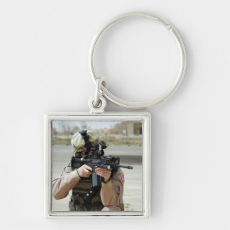 US Air Force Airman conducts security Silver-Colored Square Keychain