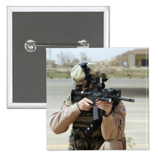 US Air Force Airman conducts security Pinback Button