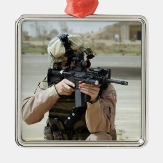 US Air Force Airman conducts security Square Metal Christmas Ornament