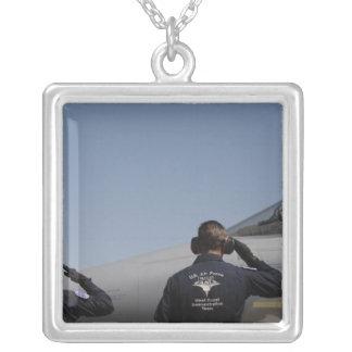 US Air Force Airmen Square Pendant Necklace