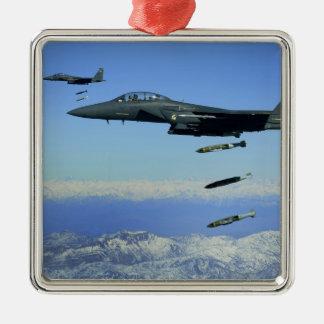 US Air Force F-15E Strike Eagle aircraft Square Metal Christmas Ornament