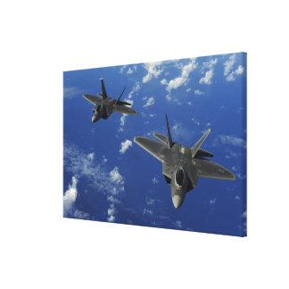 US Air Force F-22 Raptors in flight near Guam Canvas Print