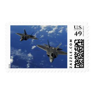 US Air Force F-22 Raptors in flight near Guam Postage Stamp