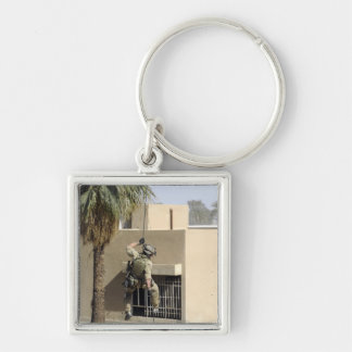 US Air Force Pararescueman Silver-Colored Square Keychain