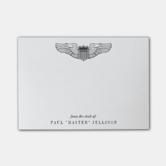 US Air Force Pilot Wings with Custom Name Text Post-it Notes