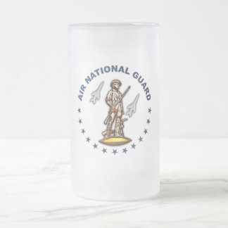 US Air National Guard Frosted Glass Beer Mug