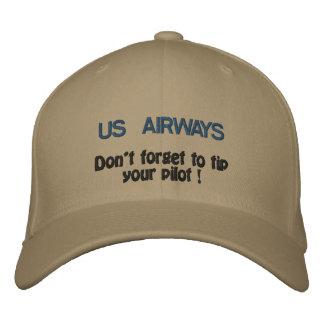 ¡US AIRWAYS, no olvida inclinar a su piloto! Gorras De Béisbol Bordadas