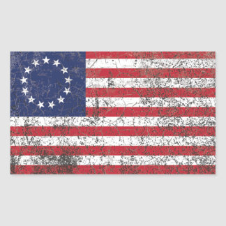 US American Colonial Flag Thirteen Stars RUSTIC Rectangular Sticker