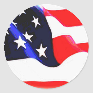 US American Flag Classic Round Sticker