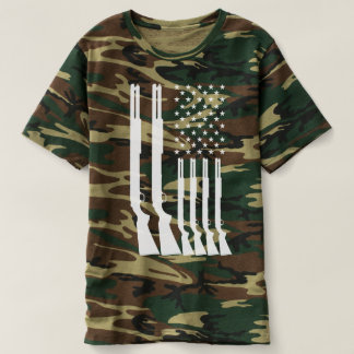 US American Flag HUNTING Guns Camouflage T-Shirt