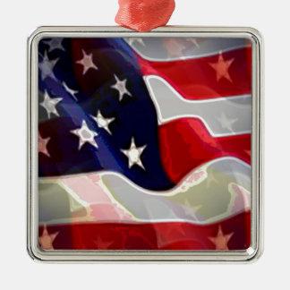 US American Flag Metal Ornament