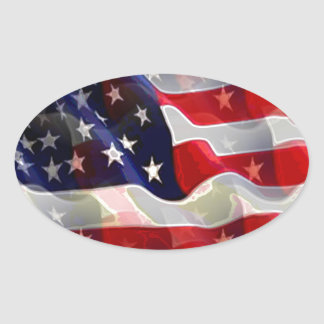 US American Flag Oval Sticker