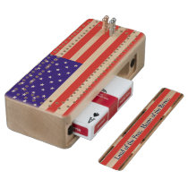 US American Flag Patriotic Cribbage Board