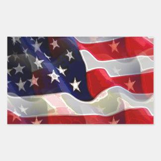 US American Flag Rectangle Sticker