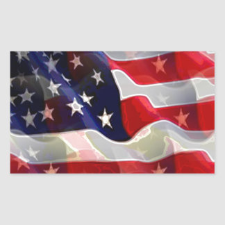 US American Flag Rectangular Sticker