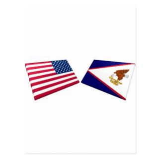 US & American Samoa Flags Postcard